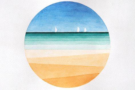 Aquarell seelandschaft, Strand, marinen Landschaft, geometrische original Abbildung, Kreis Wand Kunst Dekor gelb, blau, A3