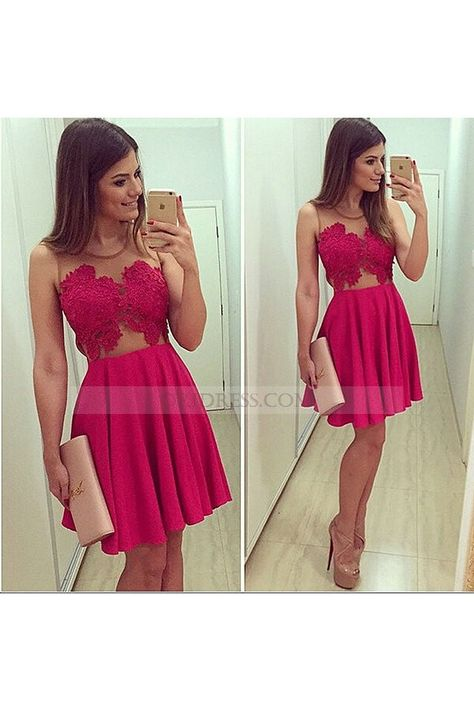 2ed055674f O Neck Sleeveless Chiffon Short Zipper Red A Line Homecoming Dress Os0778