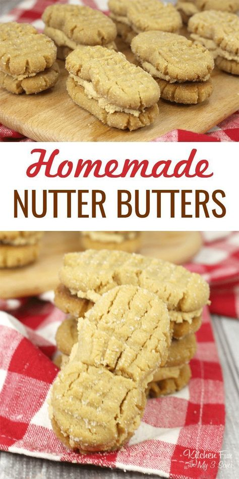 These Homemade Nutter Butters are the tastier, softer, creamier version of the classic cookie. This recipe is one you'll make you'll make over and over again. #peanutbutter #peanutbuttercookies #nutterbutter #food #recipes #cookies #yummy #nutterbuttercookies