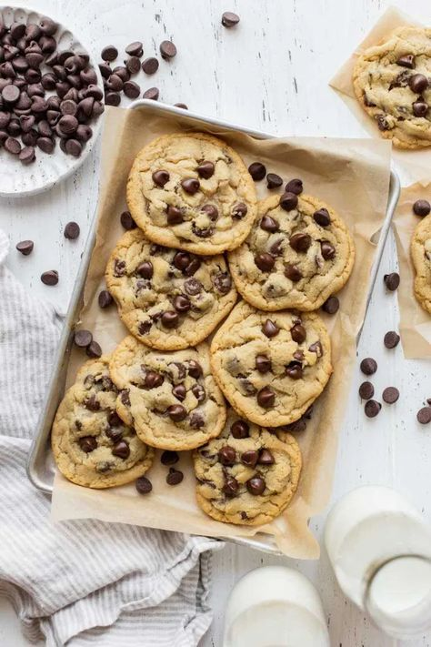 These small batch chocolate chip cookies are perfect for when you're craving a cookie, but don't want to make a full batch. This simple recipe yields just 10 cookies and includes several recipe variations too! #chocolatechip #smallbatch #easy #homemade #variety #chocolate #livewellbakeoften