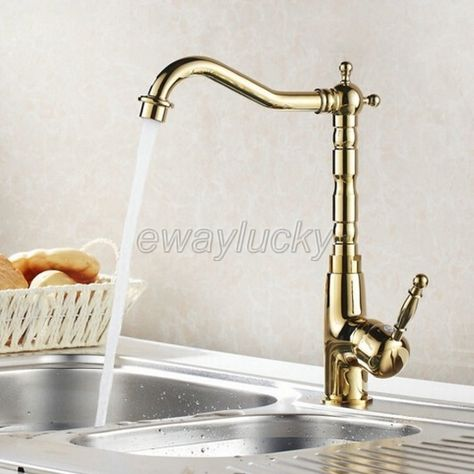 Golden Brass Kitchen Sink Faucet Swivel Spout Dual Functions Sprayer Mixer Tap