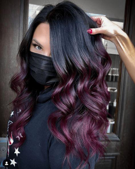 Hair Color For Black Hair, Dark Hair, Burgundy Plum Hair Color, Winter Hair Colour, Brown Hair With Purple, Reddish Purple Hair, Dark Burgundy Hair Color, Dark Violet Hair, Burgundy Balayage