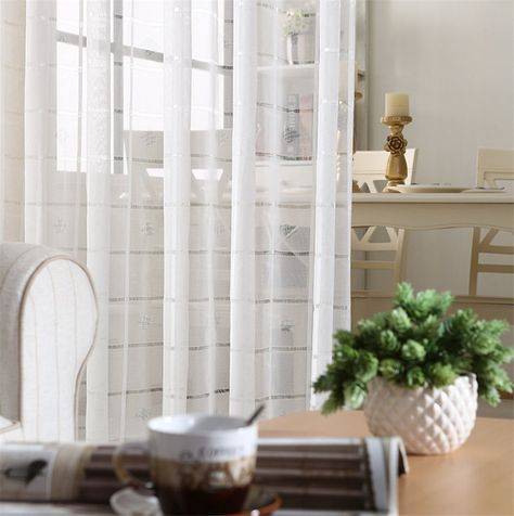 Stripe Sheer Curtains Solid Voile Rod Pocket Curtain Panels For