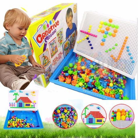 Children Puzzle Peg Board With 296 Pegs
