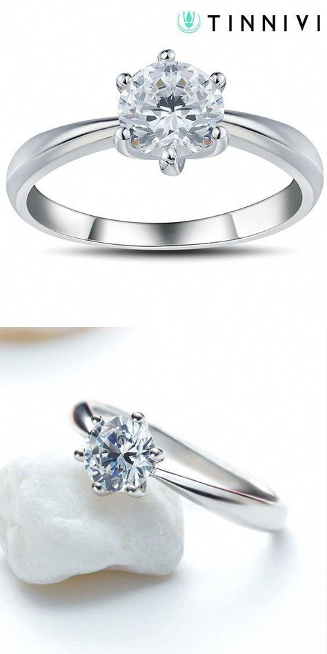 f8efae961d Shop Round Cut White Sapphire 0.6CT 925 Sterling Silver Promise Rings For  Her online, Tinnivi #Jewelry creates quality fine jewelry at gorgeous  prices.
