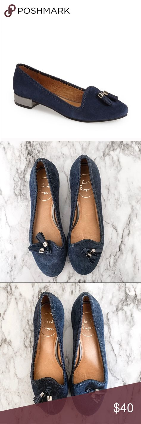 Jack Rogers Gabrielle Blue Suede Loafers Color blue Size: 5.5 New without box Whip stitch detailing Metallic block heel 1 inch heel Leather lining Tassel toe detail Jack Rogers Shoes Flats & Loafers