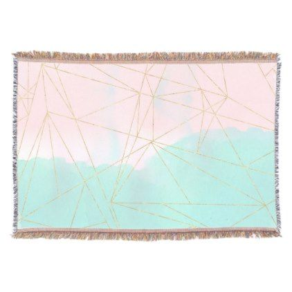 Watercolor Abstract And Golden Triangles Design Throw Abstract Watercolor Triangle Design Abstract