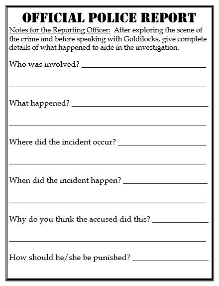 Free Printable Police Report Template Police Report Report