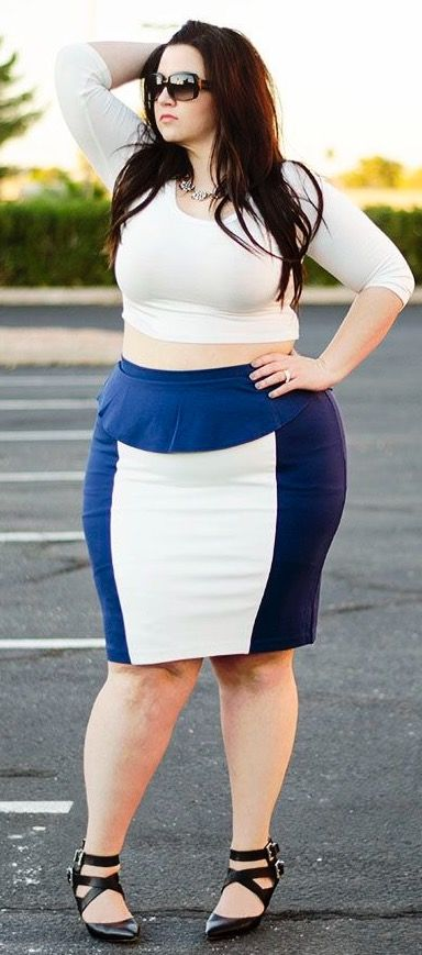 6afc31314c5 Rocking a peplum skirt & crop top from - don't be afraid to try new things!  Colorblock & peplum is a gorgeous, flattering combo! Being plus size ...
