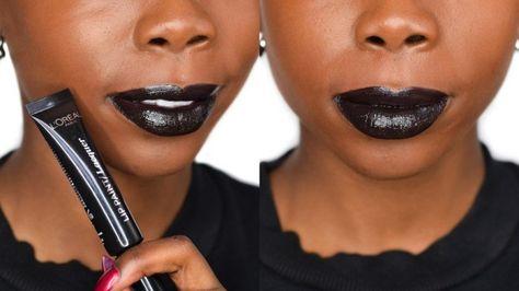 41e5c5b65c4e7 L'Oreal Paris Black Widow Infallible Lacquer Lip Paint - Dark Skin Swatch -  Epiphanniea.co.uk - @Epiphanniea - Black Lipstick