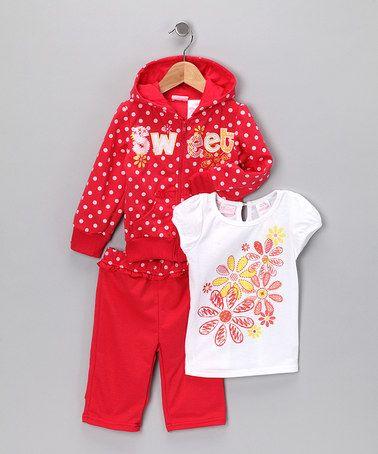 Red Polka Dot Zip-Up Hoodie Set - Infant & Girls