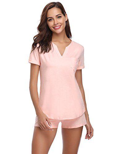 fbff417e182024 Hawiton Damen Pyjama Schlafanzug Kurz Sommer Baumwolle Nachtwäsche ...