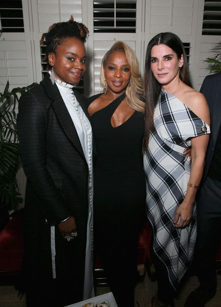 (L-R) Dee Rees, Mary J. Blige and Sandra Bullock attend a Special Screening of MUDBOUND hosted by Sandra Bullock & Trevante Rhodes at Chateau Marmont on January 9, 2018 in West Hollywood, California.