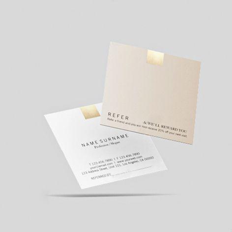 Elegant Modern Beige Gradient Gold Accent Referral Square Business Card Zazzle Com Square Business Cards Square Business Card Business Cards Collection
