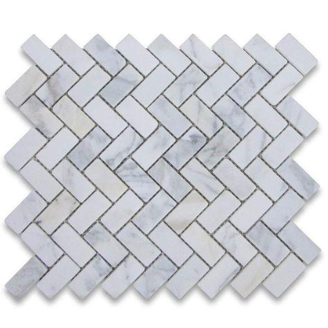 Crema Marfil Spanish Marble 1x3 Herringbone Mosaic Tile Polished