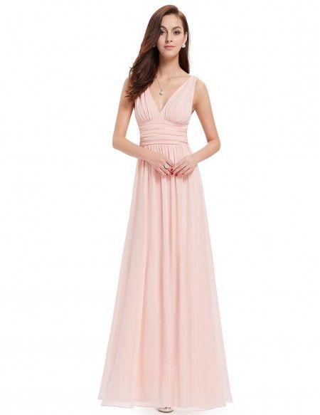 4ea87549d4030 A-line V-neck Chiffon Floor-length Bridesmaid Dress With Ruffles ...