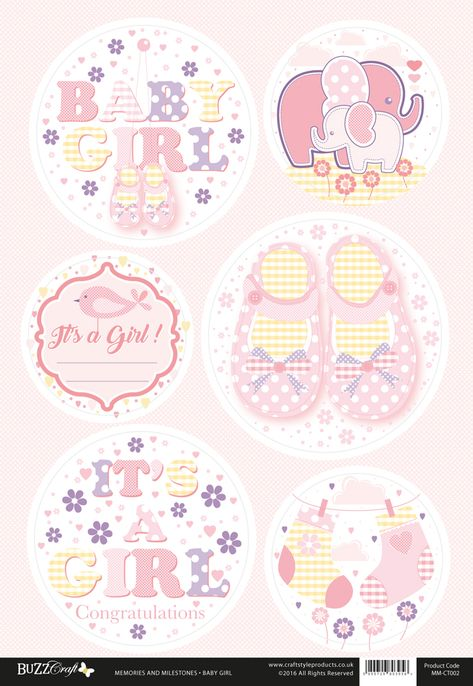 Buzzcraft Memories and Milestones occasions die cut toppers - Baby Girl