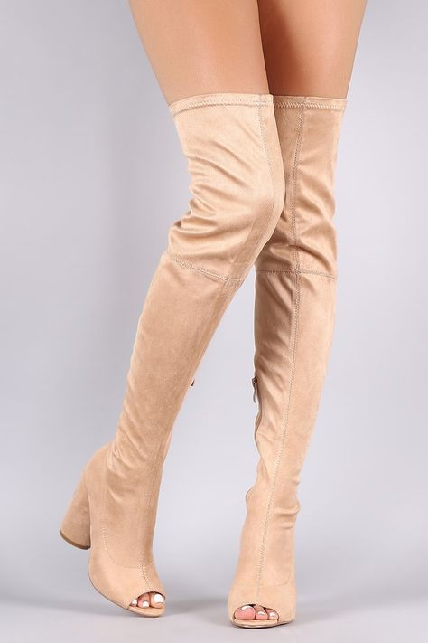 332cd926230 Revamp Faux Suede Over-The-Knee Boots DKMAUVE NUDE OLIVE RED CINNAMON... ❤  liked on Polyvore featuring shoes