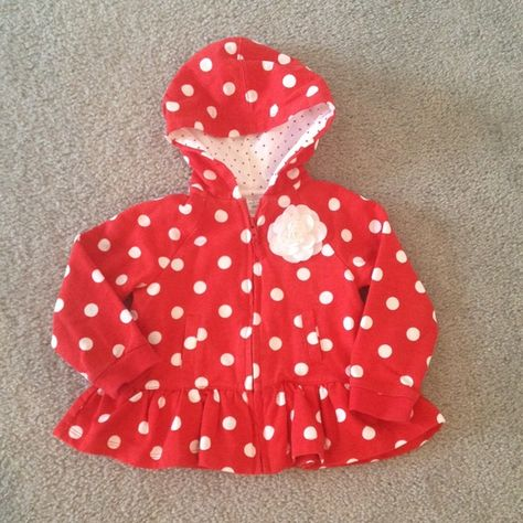 Toddler girl zip up top Super cute toddler girl polka dot zip up top with flower accent. 100% cotton. Size 24 months. Jackets & Coats