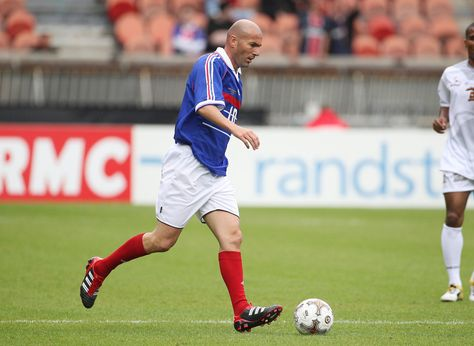 Zinedine Zidane participates in the Bernard Lama jubilee, gathering the teams of Paris-Saint Germain 1995, the Blackstars, and France 98 (won the World Cup 1998), held at the Parc des Prince in Paris.