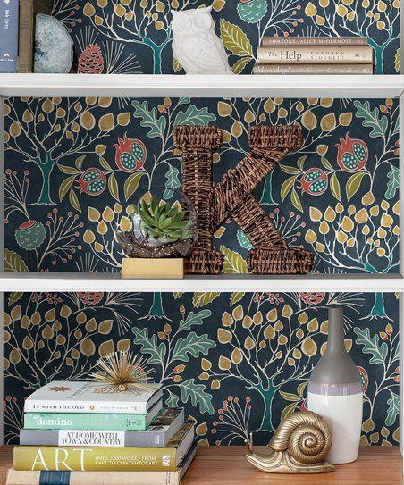 Wallpops Navy Groovy Garden Peel Stick Wallpaper Zulily Peel And Stick Wallpaper Self Adhesive Wallpaper Teal Wallpaper
