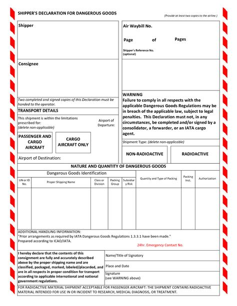 Shippers Declaration For Dangerous Goods Supply Chain Pinterest - free bill of lading
