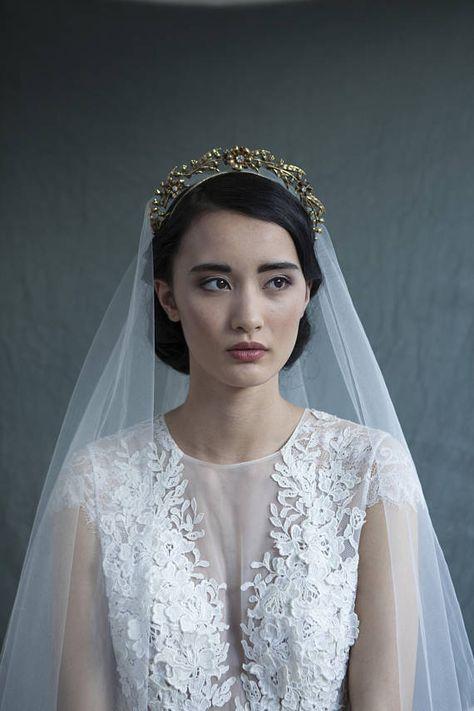 385df0bf2903a Art Nouveau Tiara - Gold Bridal headpiece - Vintage Tiara Bridal crown -  Bohemian Wedding Headpiece