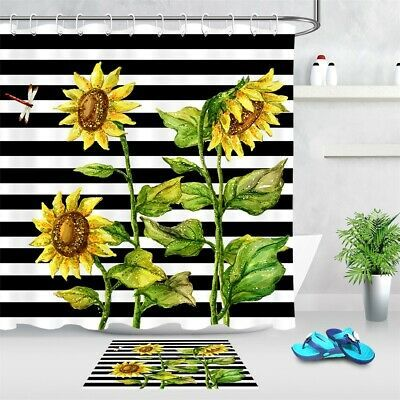 Details About Black White Striped Watercolor Sunflowers Shower