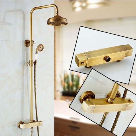 Dual Handle Antique Shower Faucet Wall Mounted Thermostatic Mixer Valve Shower Set Bath Shower Column Shower Fixtures Shower Mixer Taps Shower Taps