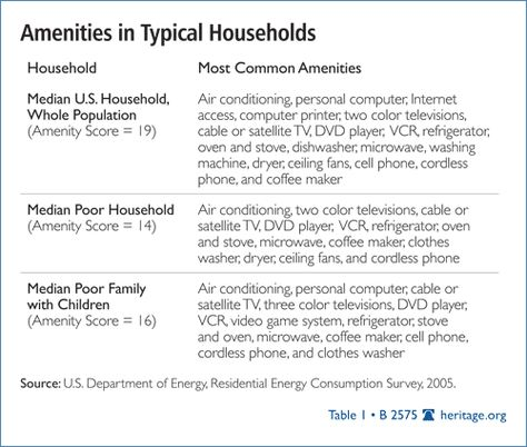 Heritage Foundation: Amenities in Typical Households | Conservatism |  Pinterest | Heritage foundation and Learning