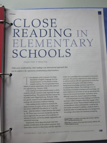Close Reading. Scroll all the way to the bottom for an excellent article explaining what it is and best practices for effective delivery.