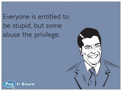 Encouragement Ecard: Everyone Is Entitled To Be Stupid, But Some Abuse The  Privilege.