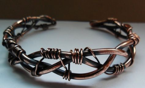 Braided Copper Cuff Bracelet Wire Work Cuff by stacyjayjewelry, $45.00 10 gauge copper wire braided and wrapped with thin copper wire, formed into a strong cuff bracelet for men or women.   6 inches long and 1/2 inch wide