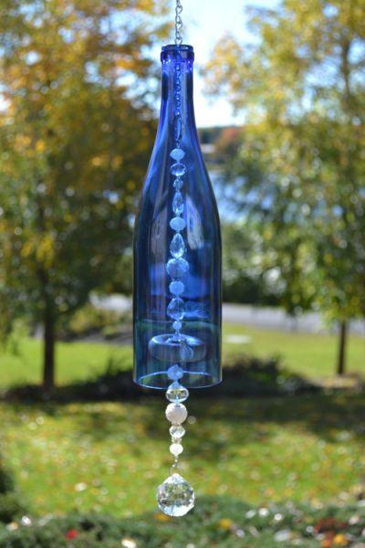 Wine Bottle Wind Chime Blue Wine Blue Wine Bottles Wine Bottle