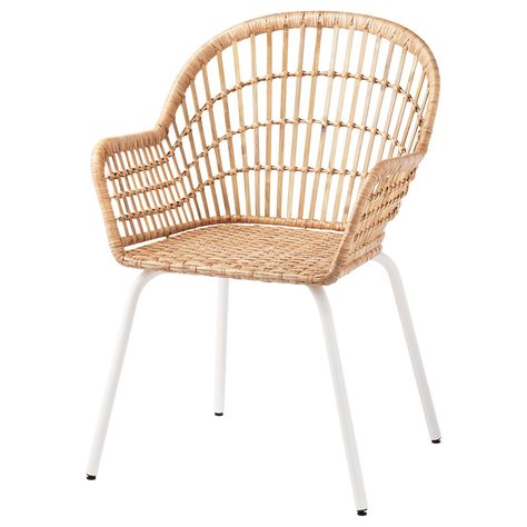 NILSOVE Chair with armrests, rattan, white. Hand-woven rattan and sturdy bamboo make each armchair unique and stable. The armrest helps you sit comfortably close to the table - ideal for long dinners. A great way to invite nature into your home. Rattan Furniture, Handmade Furniture, Luxury Furniture, Kitchen Chairs, Dining Room Chairs, Ikea Dining, Ikea Chairs, Bag Chairs, Office Chairs