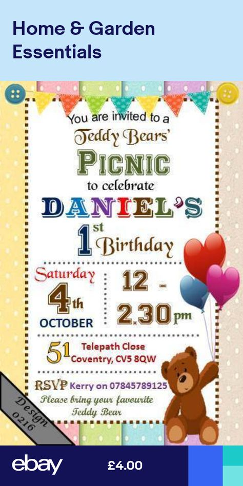 Personalised Pink Girl Teddy Bears Picnic Birthday Party Invites inc Envelopes