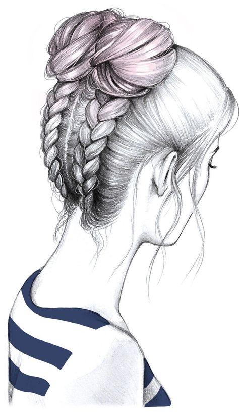 Trenzas Rodetes Dessin Coiffure Cheveux Dessin Et