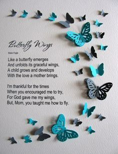 For Mothers Butterfly Wings 3D Butterfly Word Art. YOU Choose | Etsy