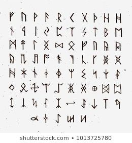 Set Of Old Norse Scandinavian Runes Runic Alphabet Futhark Ancient Occult Symbols Vikings Letters On White Rune Font Ve Viking Runes Runes Norse Alphabet