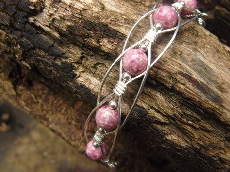 Beautiful Pink wire wrapped bracelet.