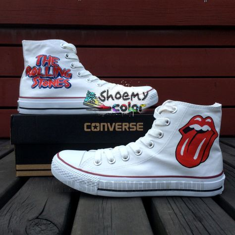 69c9e1474567 The Rolling Stones Pure Hand Painted White High Top Converse Canvas Shoes  for Women
