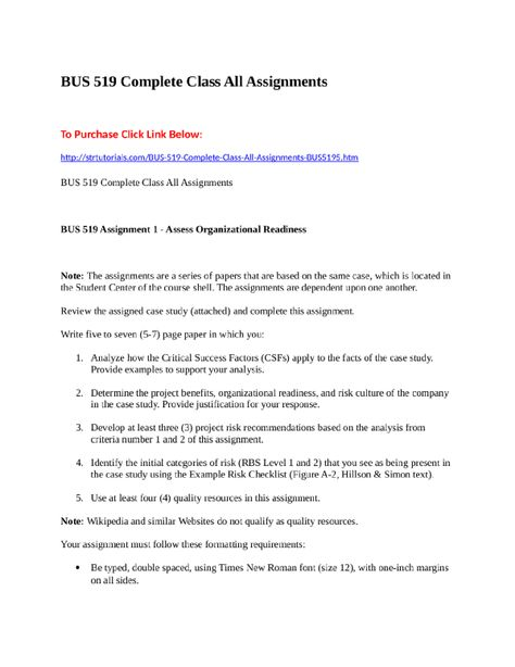BUS 519 Complete Class All Assignments To Purchase Click Link - one inch margins