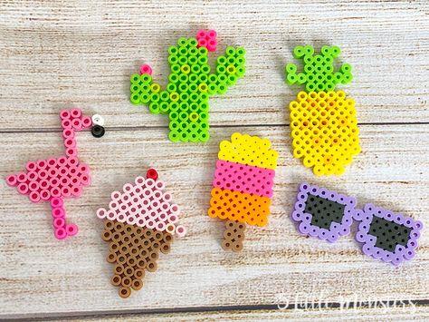 5 Little Monsters: Summer Perler Bead Patterns Melt Beads Patterns, Easy Perler Bead Patterns, Perler Bead Templates, Pearler Bead Patterns, Beading Patterns, Easy Perler Beads Ideas, Loom Patterns, Loom Beading, Perler Bead Disney