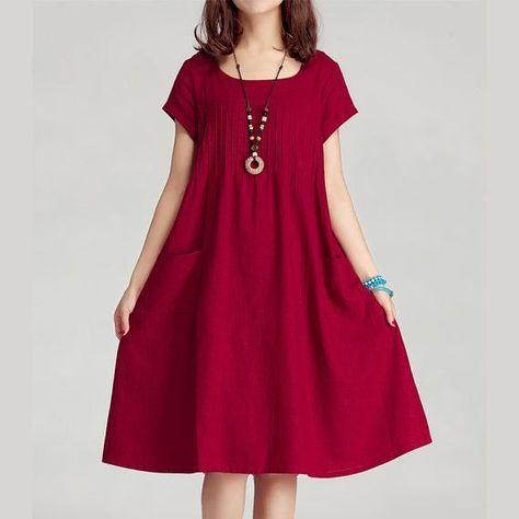 2014 Dark Red Women Summer Dress Cotton Linen Loose Sundress Casual Short Sleeve Skirt folding Large Size Cloth