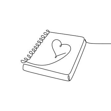 Continuous Line Drawing Of Books In Love Graphic Linear Drawing Png And Vector With Transparent Background For Free Download Notebook Drawing Continuous Line Drawing Line Art Drawings