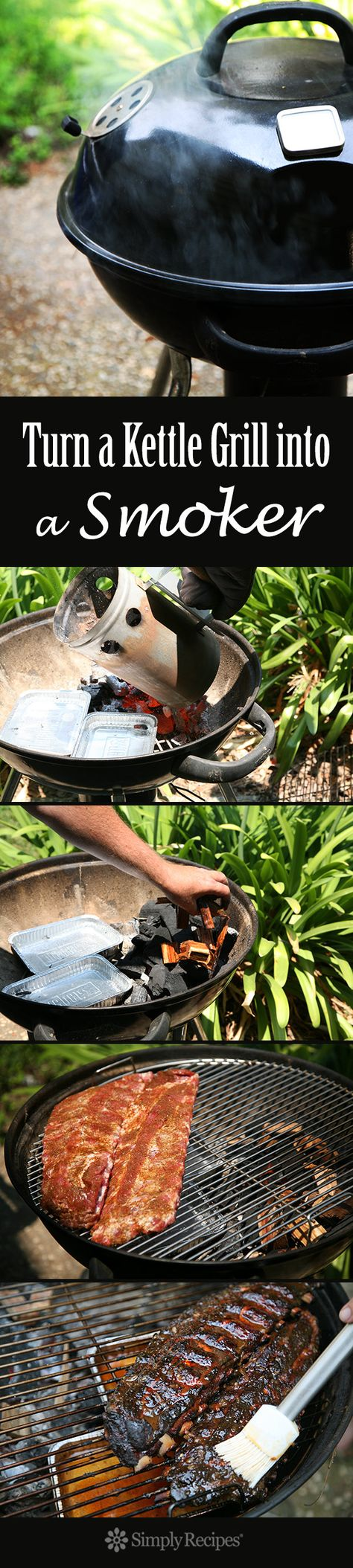 How to Turn Your Kettle Grill into a Smoker ~ Don't have a smoker? Smoke ribs on your Weber grill, low and slow.  Step-by-step instructions on how to smoke meat on your kettle grill. ~ SimplyRecipes.com
