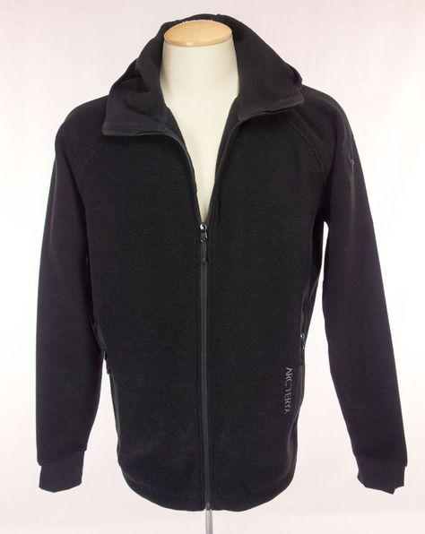 c291c22d664 ARCTERYX Mens Fleece Jacket Size L Large Black Polartec Zip Waffle Hoodie # Arcteryx #FleeceJacket