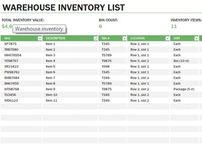 inventory templates free download