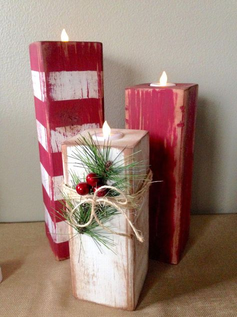 Excited to share this item from my shop: Rustic Christmas Candlesticks, Farmhouse Christmas Decor, Primitive Christmas Candles, Fixer Upper Candlesticks A beautiful set of candy cane candlesticks that are handcrafted from Douglas fir 4 Christmas Wood Crafts, Farmhouse Christmas Decor, Christmas Candles, Noel Christmas, Winter Christmas, Holiday Crafts, Rustic Christmas Decorations, Christmas Cactus, Christmas Porch