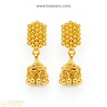 613fd44e6 22K Gold Jhumkas - Gold Dangle Earrings - 235-GJH1734 - Buy this Latest  Indian Gold Jewelry Design in 4.800 Grams for a low price of $320.99